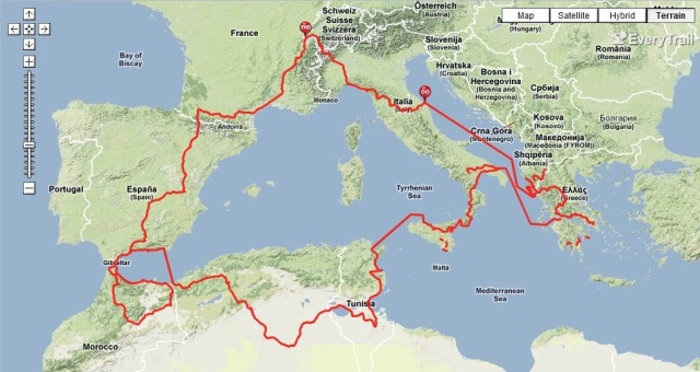 Route around the Mediterranean Sea