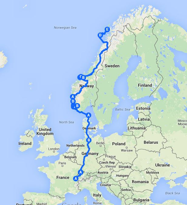 Switzerland to the Arctic Circle via Denmark and southern Norway