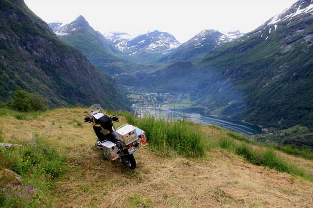 Francois high above Geiranger fjord, overlooking Geiranger village, now a tourist mecca