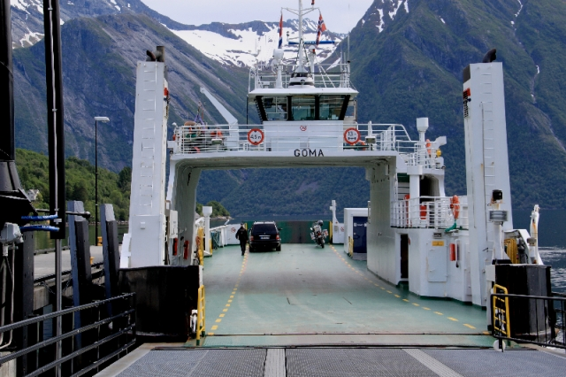 Boarding the Hjorundfjorden ferry at Saebo