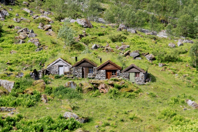 The grass roofed mountain huts or hytte blend so well into the landscape, one blink and you miss them.
